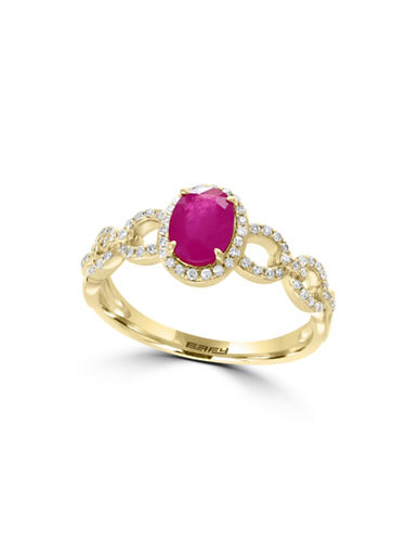 Effy 0.21 TCW Diamond, Ruby and 14K Yellow Gold Twisted Shank Ring-RUBY-7