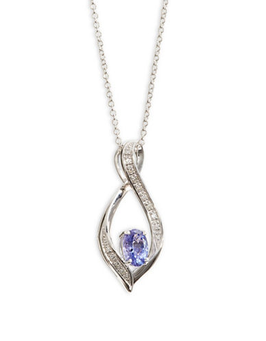 Effy 14K White Gold Pendant Necklace with Tanzanite and 0.06 TCW Diamonds-PURPLE-One Size