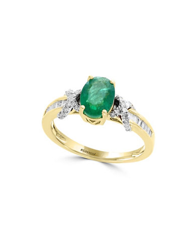 Effy Two-Tone 14K Gold and Emerald Ring with 0.24 TCW Diamonds-GREEN-7