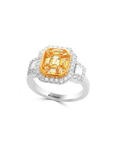 Effy 18K White Gold Ring with 0.74 TCW Diamonds-YELLOW-7