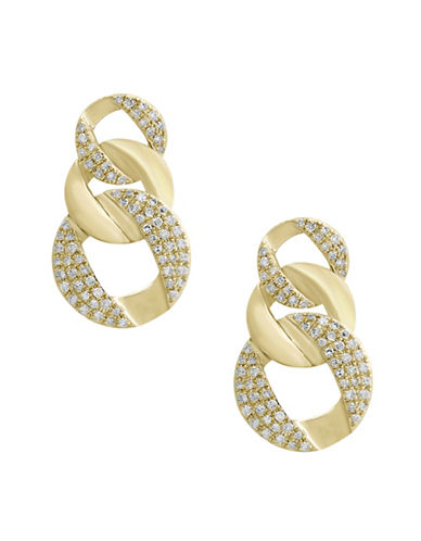 Effy 14K Yellow Gold Circular Drop Earrings with 0.34TCW Diamonds-WHITE-One Size