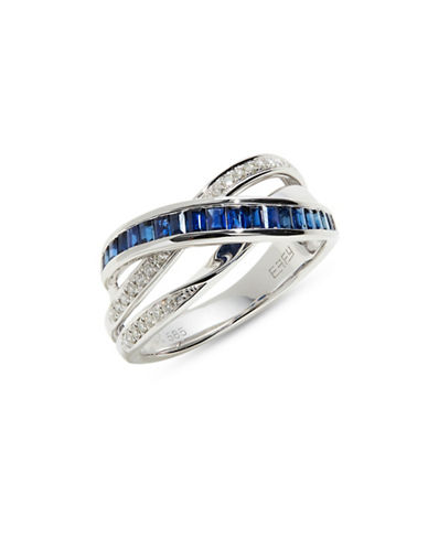 Effy 14K White Gold Ring with Sapphire and 0.14 TCW Diamonds-BLUE-One Size