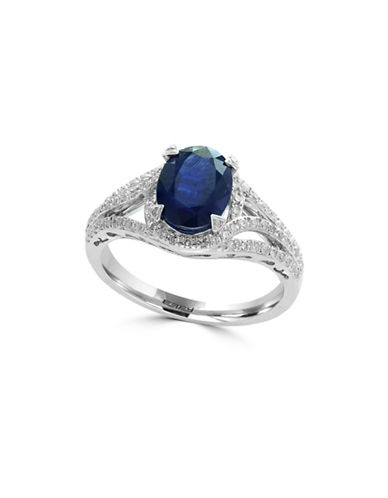 Effy 14K White Gold and Sapphire Ring with 0.32 TCW Diamonds-BLUE-One Size