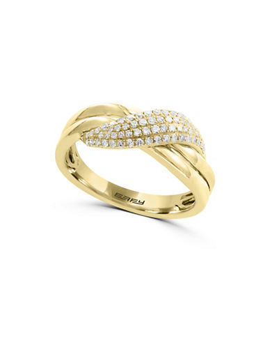 Effy 14K Yellow Gold Twist Ring with 0.26TCW Diamonds-GOLD-7