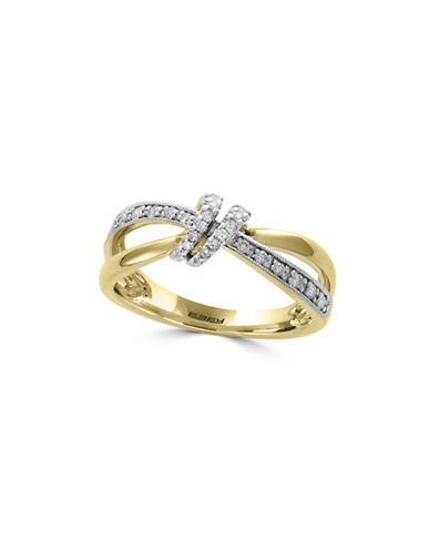 Effy 14K Yellow Gold Studded Knot Ring with 0.17 TCW Diamonds-GOLD-7