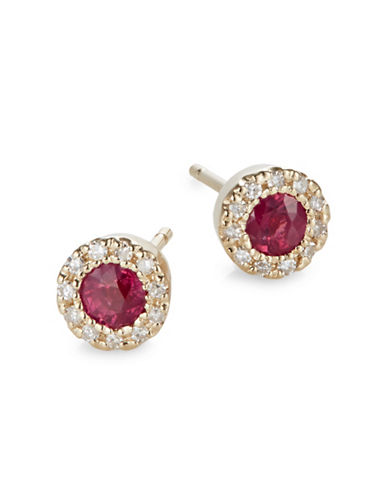 Effy 14K Yellow Gold Ruby Earrings with 0.09TCW Diamonds-RED-One Size