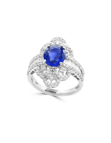 Effy 18K White Gold and Sapphire Ring with 1.3 TCW Diamonds-BLUE-7