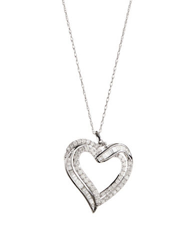 Effy Sterling Silver 0.98 TCW Diamond Heart Pendant Necklace-WHITE-One Size