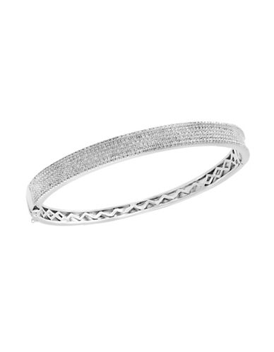 Effy 0.97 TCW Diamond and Sterling Silver Bangle Bracelet-WHITE-One Size
