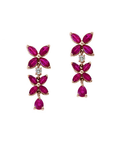 Effy 14K Rose Gold And Diamond And Ruby Earrings-RED-One Size