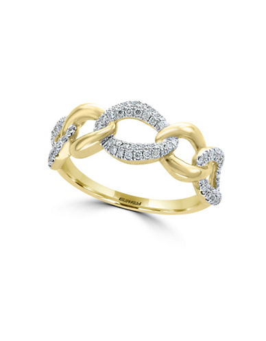 Effy 0.31 TCW Diamond and 14K Yellow Gold Band Ring-WHITE-7