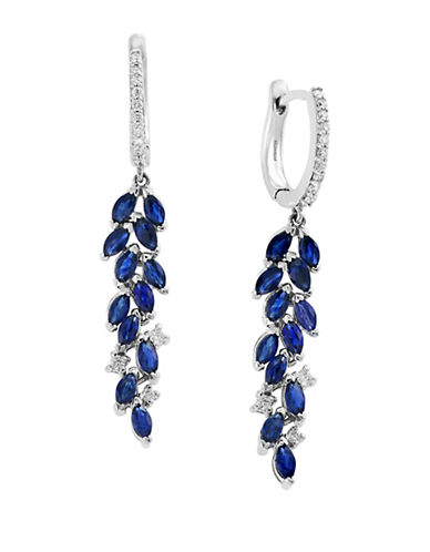 Effy 14K White Gold and Diamond and Sapphire Earrings-BLUE-One Size
