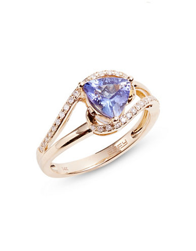 Effy 14K Yellow Gold Ring with Tanzanite and 0.15 TCW Diamonds-PURPLE-7