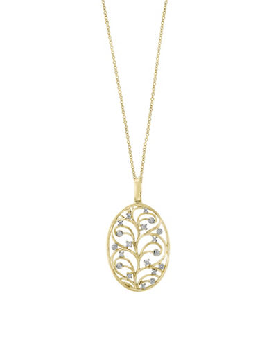 Effy 0.15 TCW Diamond and 14K Yellow Gold Pendant Necklace-WHITE-One Size