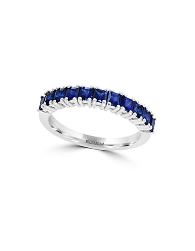Effy 14K White Gold and Sapphire Band Ring-BLUE-7