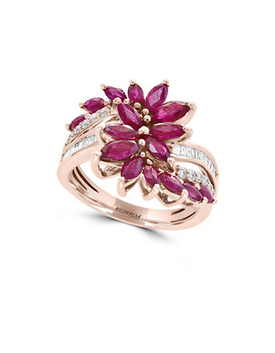 Effy 14K Rose Gold Diamond And Ruby Ring-RED-7