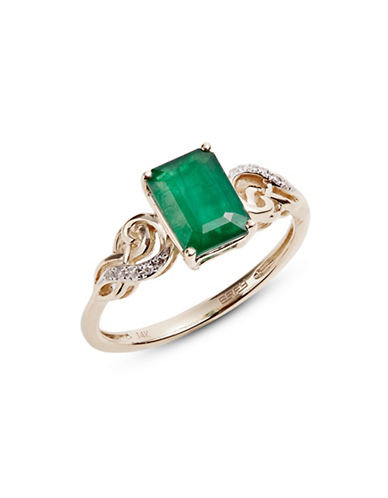 Effy 14K Yellow Gold Ring with Emerald and 0.04 TCW Diamonds-GREEN-7