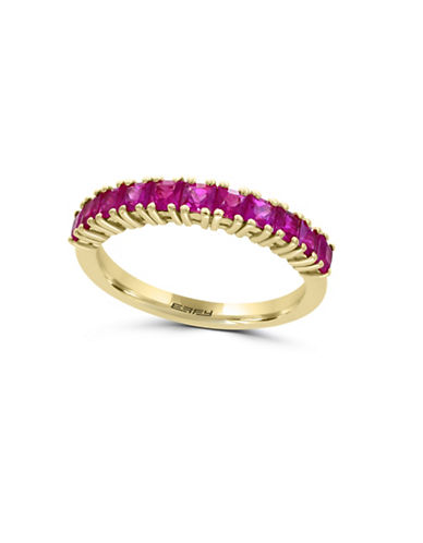 Effy 14K Yellow Gold and Ruby Band Ring-RED-7