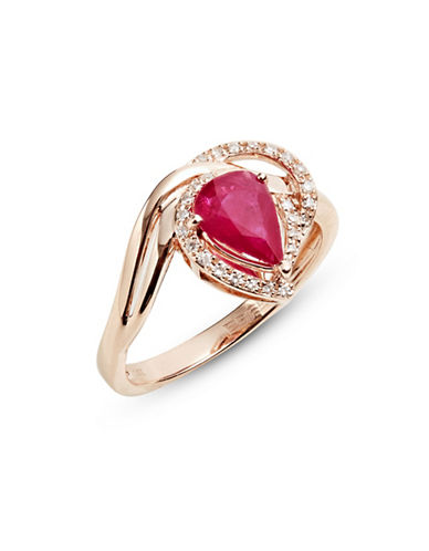 Effy 14K Rose Gold Ring with Ruby and 0.12 TCW Diamonds-RED-7