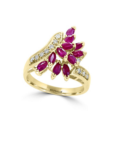 Effy 14K Yellow Gold Diamond And Ruby Ring-RED-7