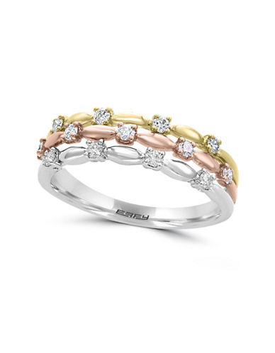 Effy 0.28 TCW Diamond and 14K White, Yellow and Rose Gold Ring-WHITE-7