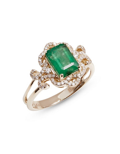 Effy 14K Yellow Gold Ring with Emerald and 0.21 TCW Diamonds-GREEN-7