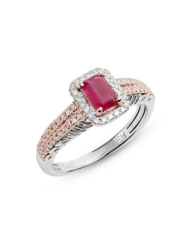 Effy 14K White and Rose Gold Ring with Ruby and 0.29 TCW Diamonds-RED-7