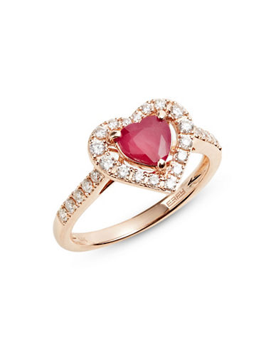 Effy 14K Rose Gold Ring with Ruby and 0.38 TCW Diamonds-RED-7