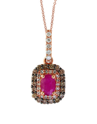 Effy 0.43 TCW Diamond, Brown Diamond, Natural Mozambique Ruby & 14K Rose Gold Pendant Necklace-RED-One Size
