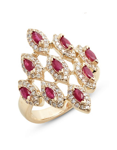 Effy 14K Yellow Gold Ring with Ruby and 0.53 TCW Diamonds-RED-7