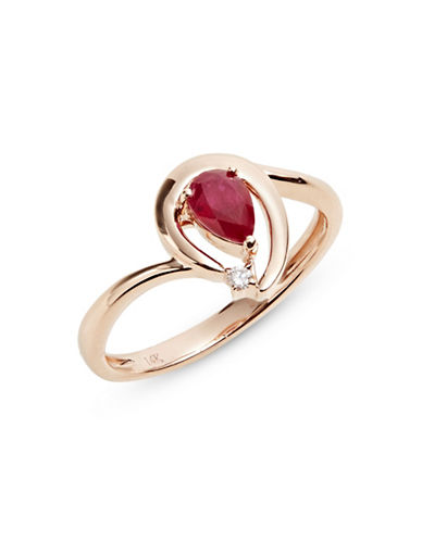 Effy 14K Rose Gold Ring with Ruby and 0.01 TCW Diamonds-RED-7