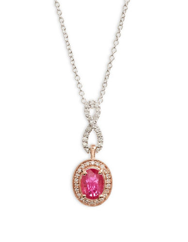 Effy 14K White and Rose Gold Pendant Necklace with Ruby and 0.16 TCW Diamonds-RED-One Size
