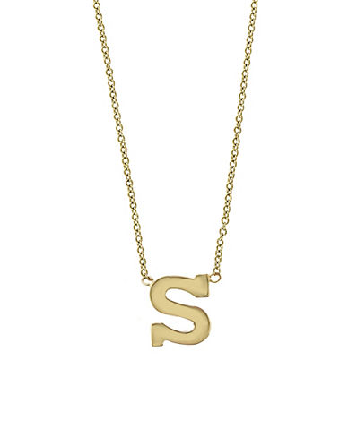 Effy 14K Yellow Gold Large Initial Necklace-LETTER S-One Size