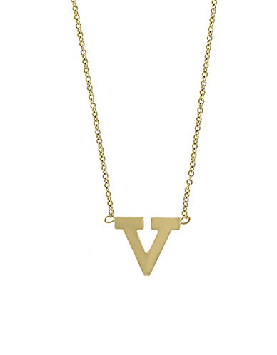 Effy 14K Yellow Gold Large Initial Necklace-LETTER V-One Size