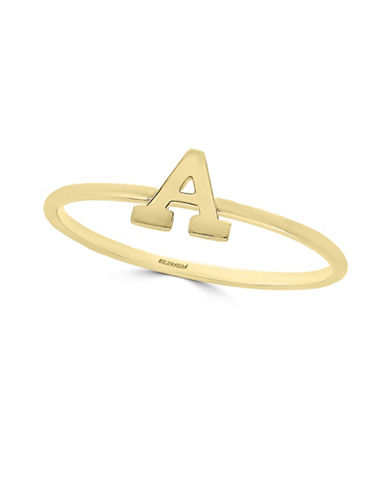 Effy 14K Yellow Gold Initial Ring-LETTER R-7