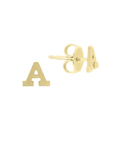 Effy 14K Yellow Gold Initial Earrings-LETTER E-One Size