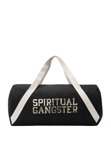 Spiritual Gangster Varsity Cotton Duffel Bag-BLACK-One Size