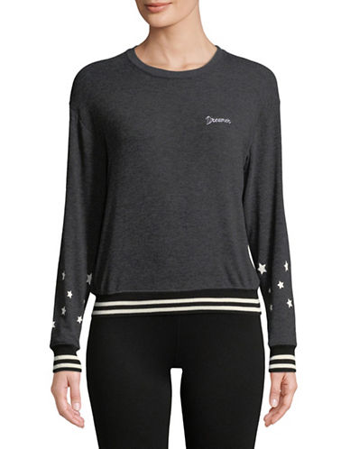 Spiritual Gangster Dreamer Star Print Sweater-BLACK-Medium