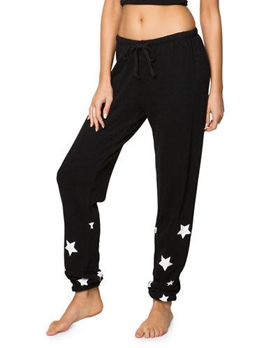 Spiritual Gangster Star Print Sweat Pants-BLACK-Medium