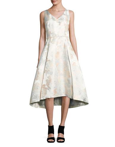 Tahari Floral Jacquard Tea Dress with Beaded Waist-SILVER-14