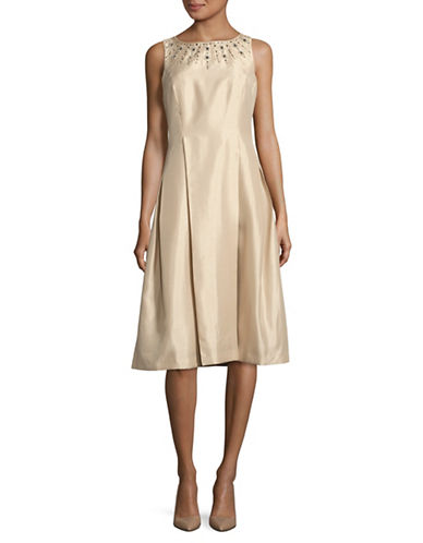 Tahari Sleeveless Beaded Neck Tea Length Dress-BEIGE-6