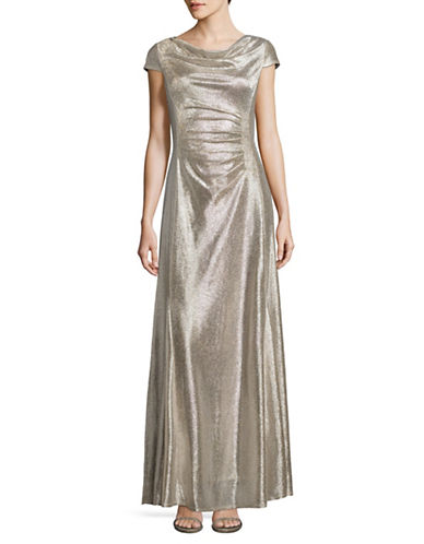 Tahari Cowl Neck Foil Sheath Gown-SILVER-12