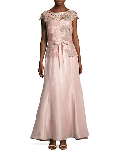 Tahari Lace Bodice Shantung Trumpet Gown-PINK-2