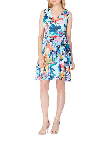 Tahari Floral Chiffon Wrap Dress-MULTI-10