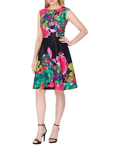 Tahari Jacquard Fit-and-Flare Dress-MULTI-10