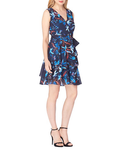 Tahari Floral Surplice Tiered Dress with Sash-NAVY/TURQUOISE-4