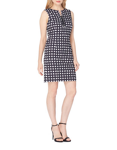 Tahari Sleeveless Plaid A-Line Dress-NAVY MULTI-14