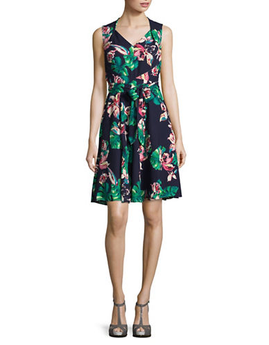 Tahari Palm Print Georgette Flare Dress-MULTI-12