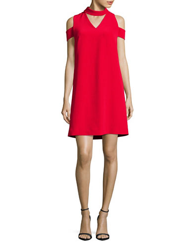 Tahari Cold-Shoulder Choker Dress-RED-6
