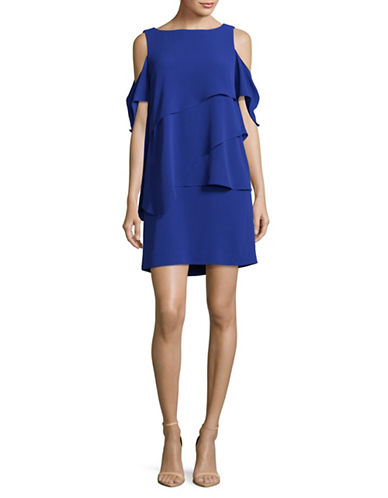 Tahari Tiered Crepe Shift Dress-BLUE-8